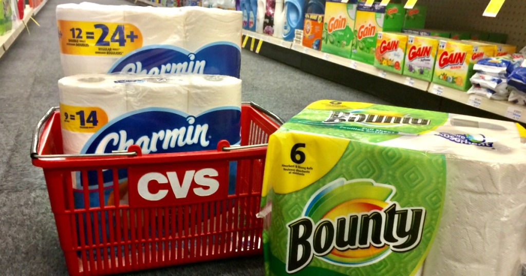 charmin and bounty by CVS basket