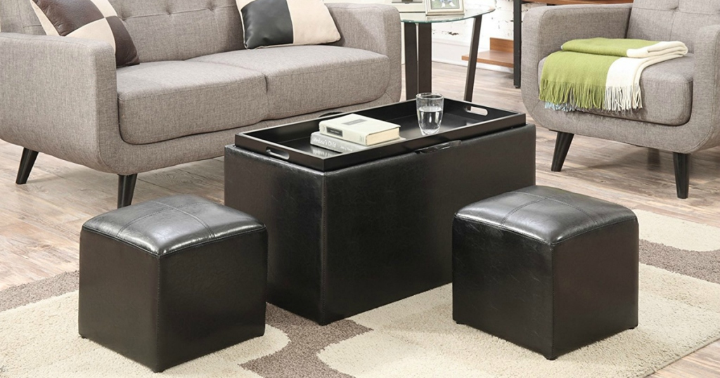 Outstanding Convenience Concepts Storage Bench And 2 Side Ottomans Only Short Links Chair Design For Home Short Linksinfo