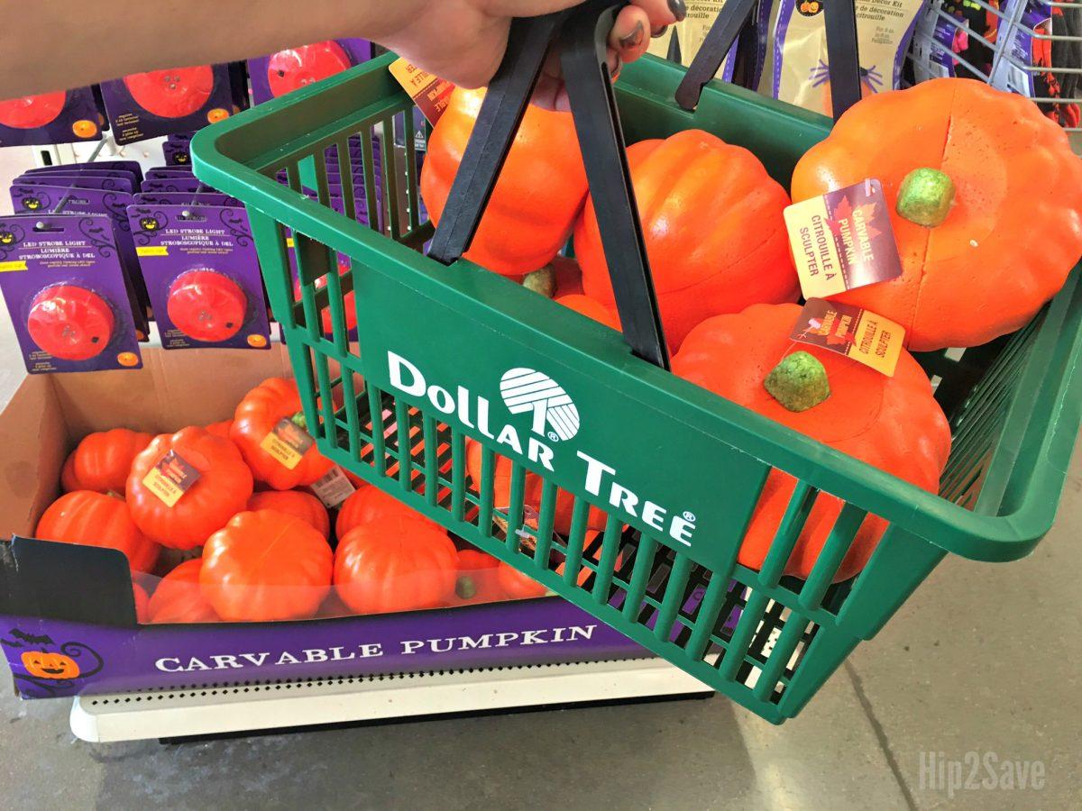 styrofoam pumpkins in Dollar Tree basket