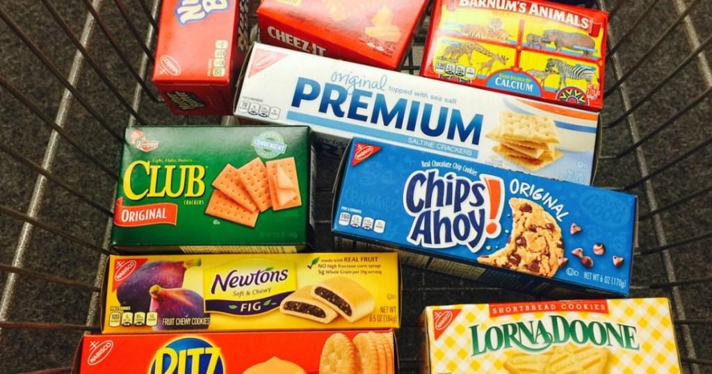 crackers and cookies in CVS cart