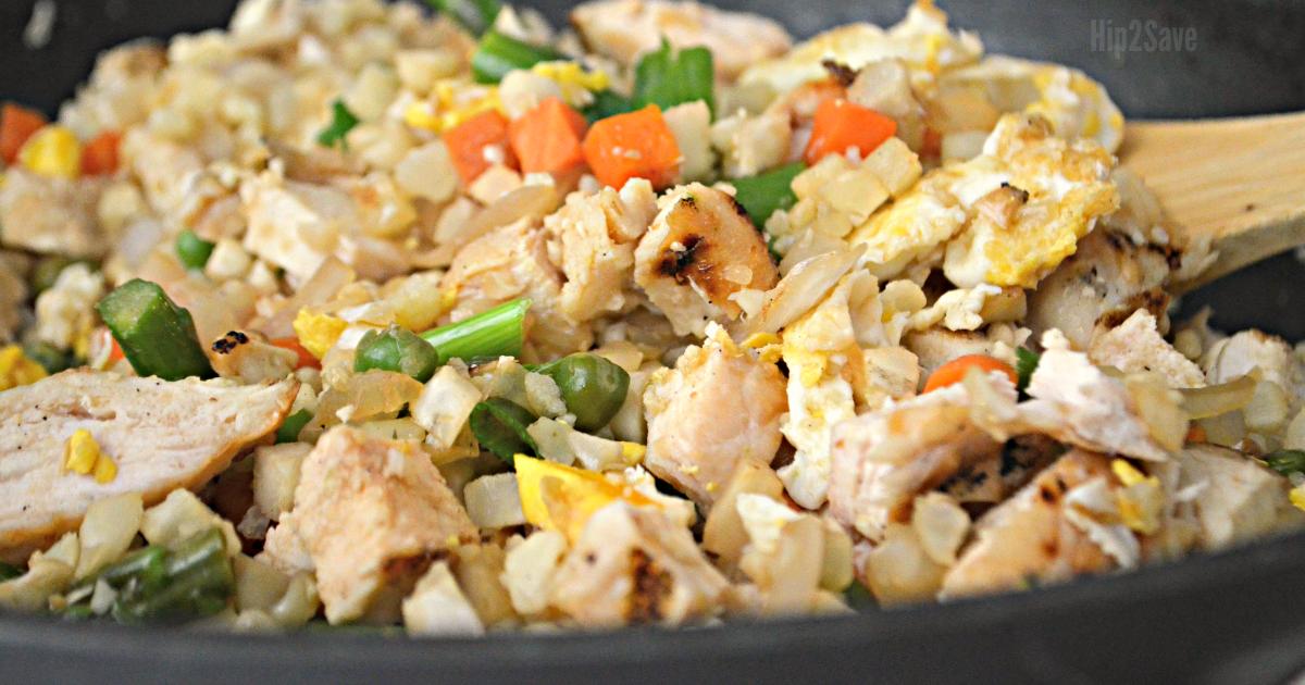 Hip2Save keto cauliflower fried rice recipe - up close image of the fried rice