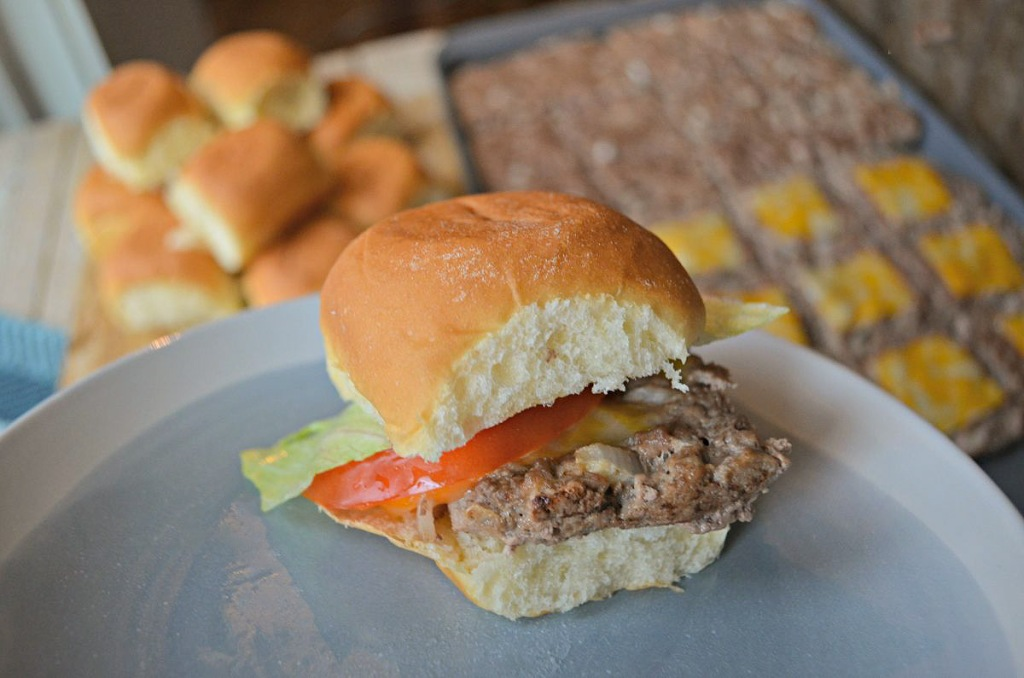 oven baked hamburger sliders on a plate