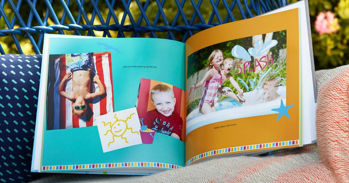 photo book with summer pictures on a patio bench