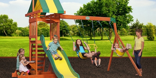 Amazon: Backyard Discovery Cedar Wood Playset Swing Set Only $349.99 Delivered (Regularly $599)