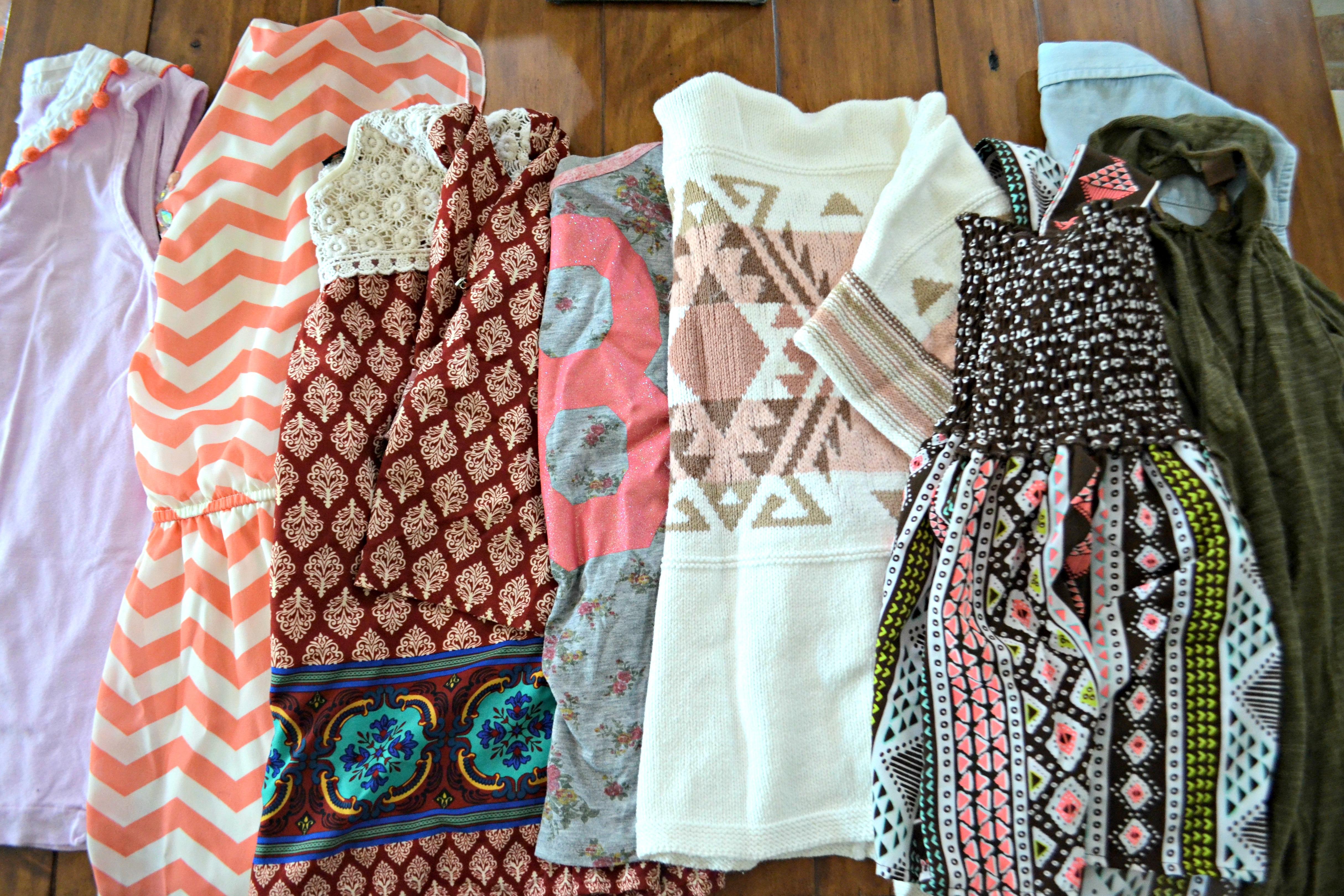 girls' clothing neatly folded