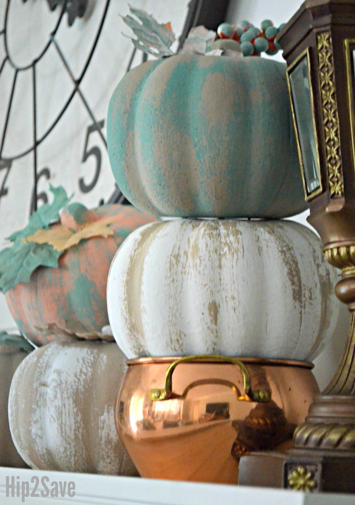 dollar tree pumpkins stacked