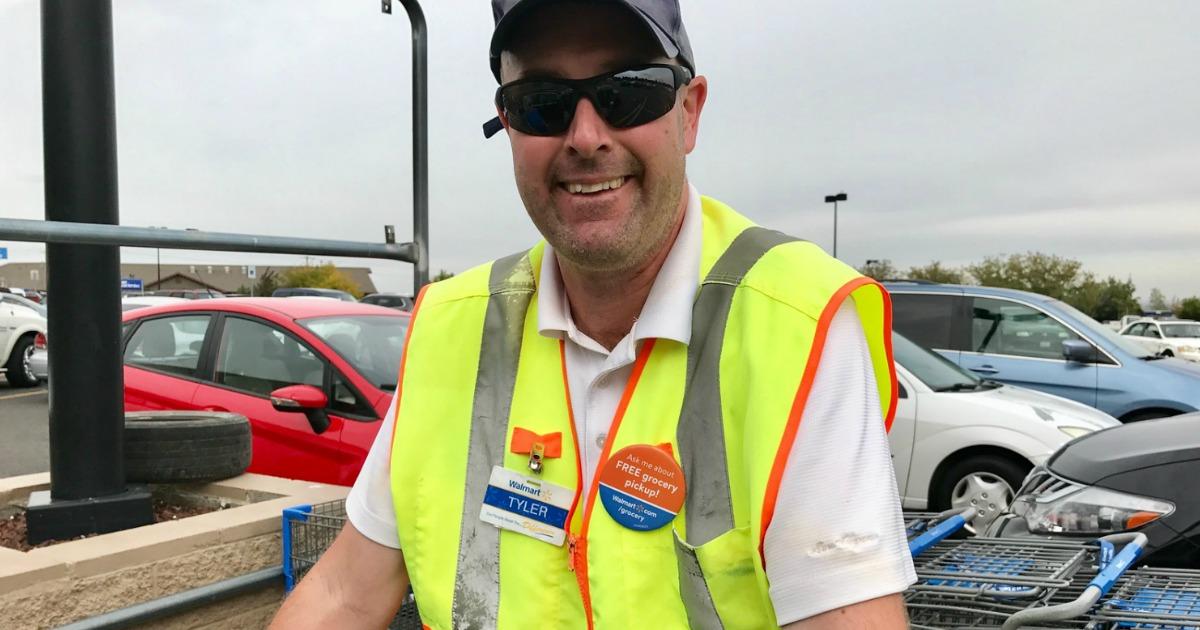 Walmart Grocery Pickup smiling attendant
