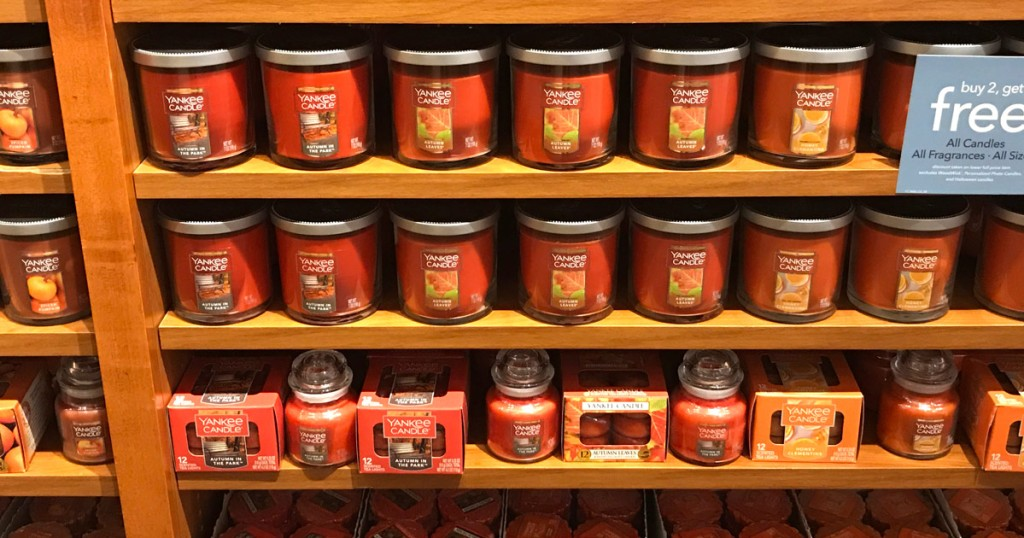 wall of yankee candle fall candles