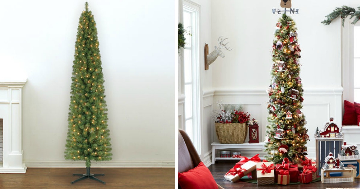 Pencil Christmas Tree.Pre Lit 7 Foot Pencil Artificial Christmas Tree Only 39 99