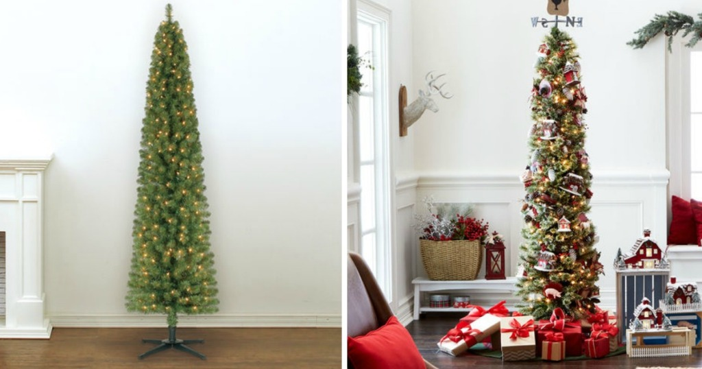 Pre Lit 7 Foot Pencil Artificial Christmas Tree Only 39 99 Shipped