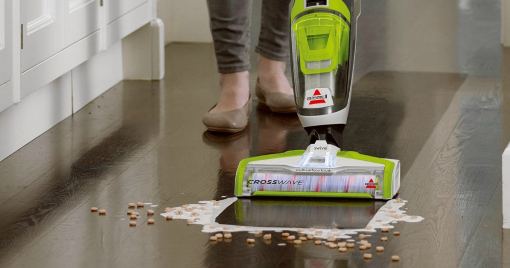 bissell crosswave vacuum cleaning up spilled milk and cereal on floor