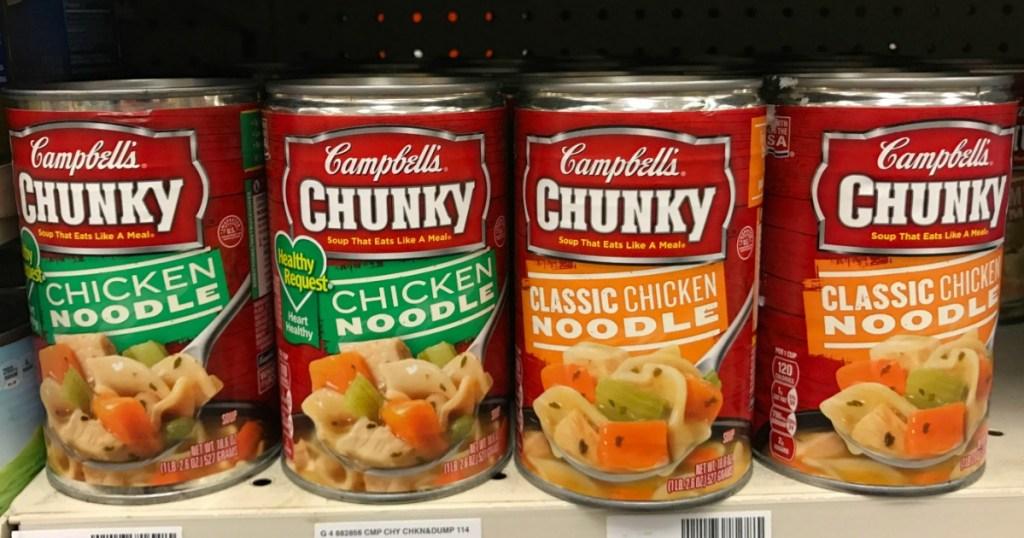 campbell's soup on shelf