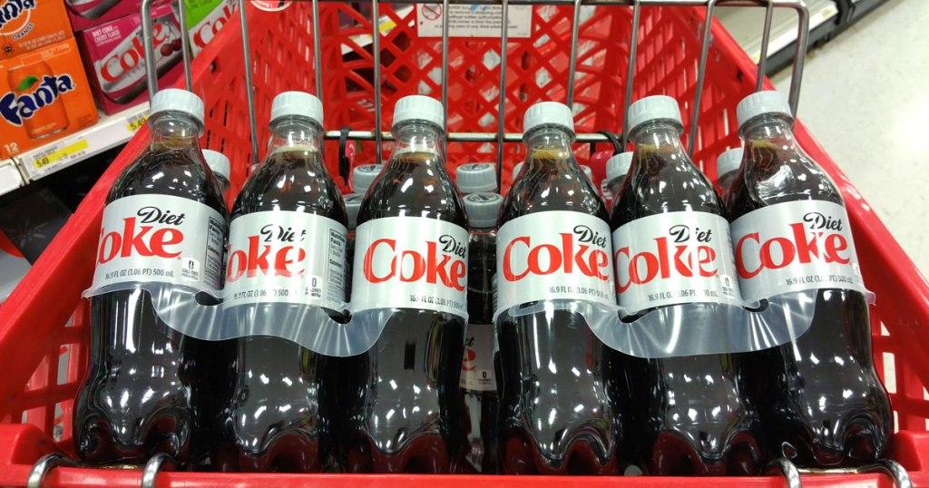 bottles of Diet Coke in shopping cart