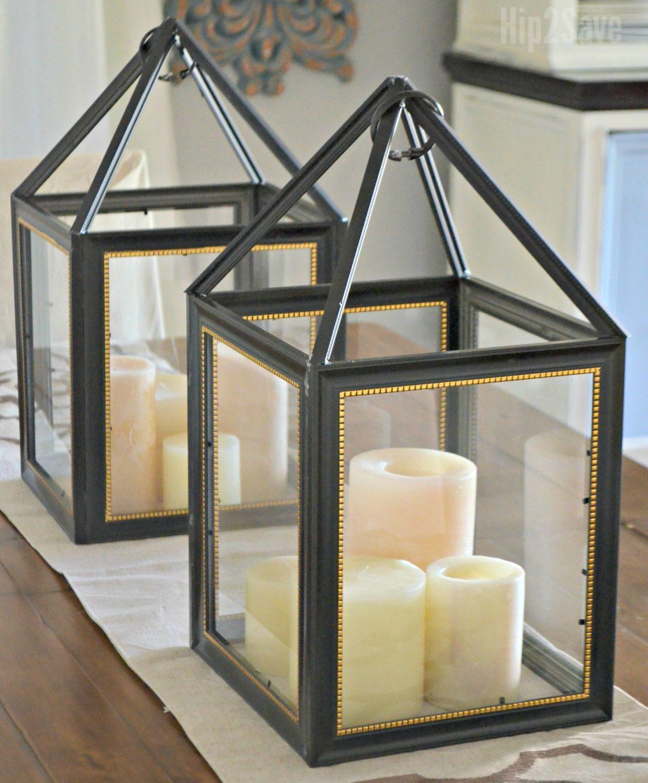 diy dollar tree picture frame lanterns hip2save. Black Bedroom Furniture Sets. Home Design Ideas