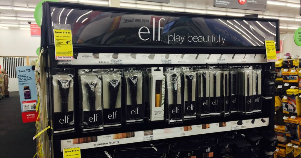elf cosmetics on racks