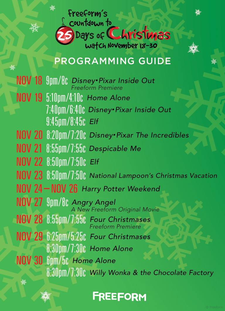 Abc Family 25 Days Of Christmas.Freeform S Formerly Abc Family Countdown To 25 Days Of