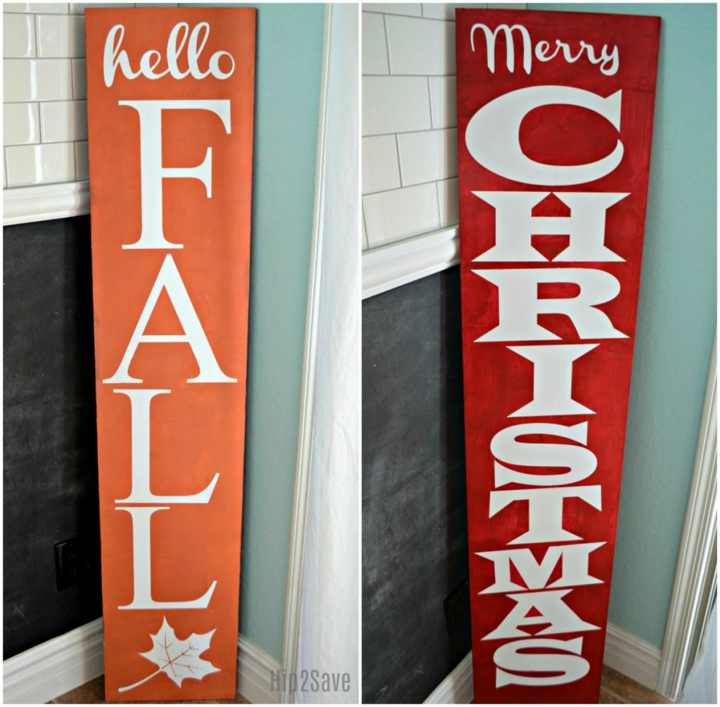hello fall and merry christmas sign using the cricut