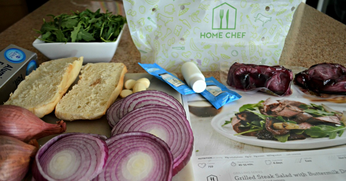 Easy Home Chef Meal Subscription Box Meals – ingredients next to a recipe card