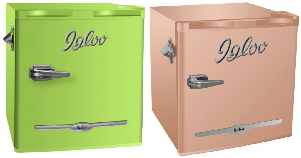 Hop On Over To Walmart Com Where You Can Score This Igloo 1 6 Cu Ft Retro Bar Fridge With Side Bottle Opener In Coral And Olive For Just 42 11 Shipped