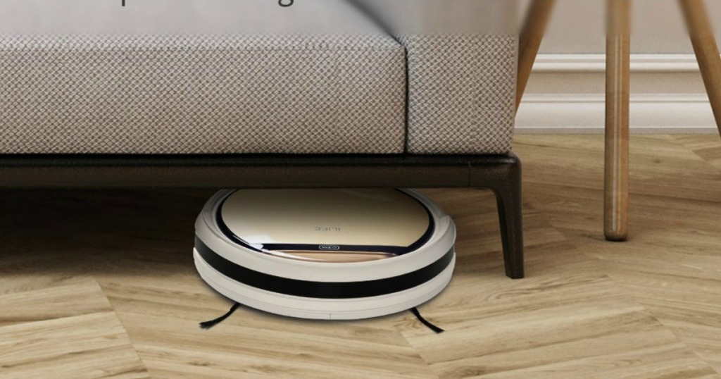 ilife robot vacuum cleaning under a sofa