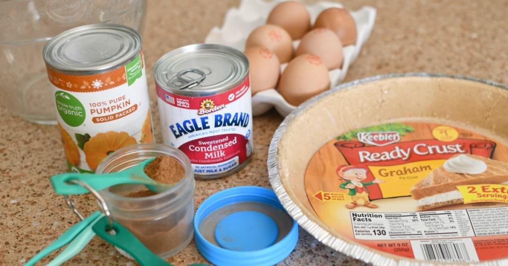 ingredients for easy pumpkin pie