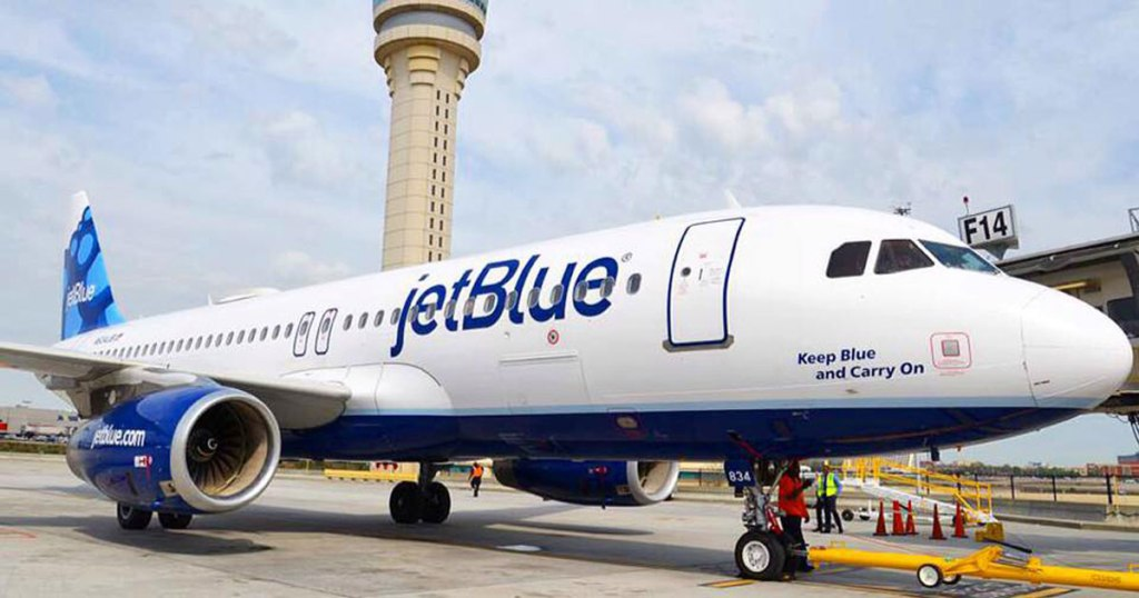 picture of a jetblue airplane outside