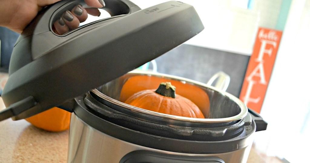 small pumpkin inside Instant Pot