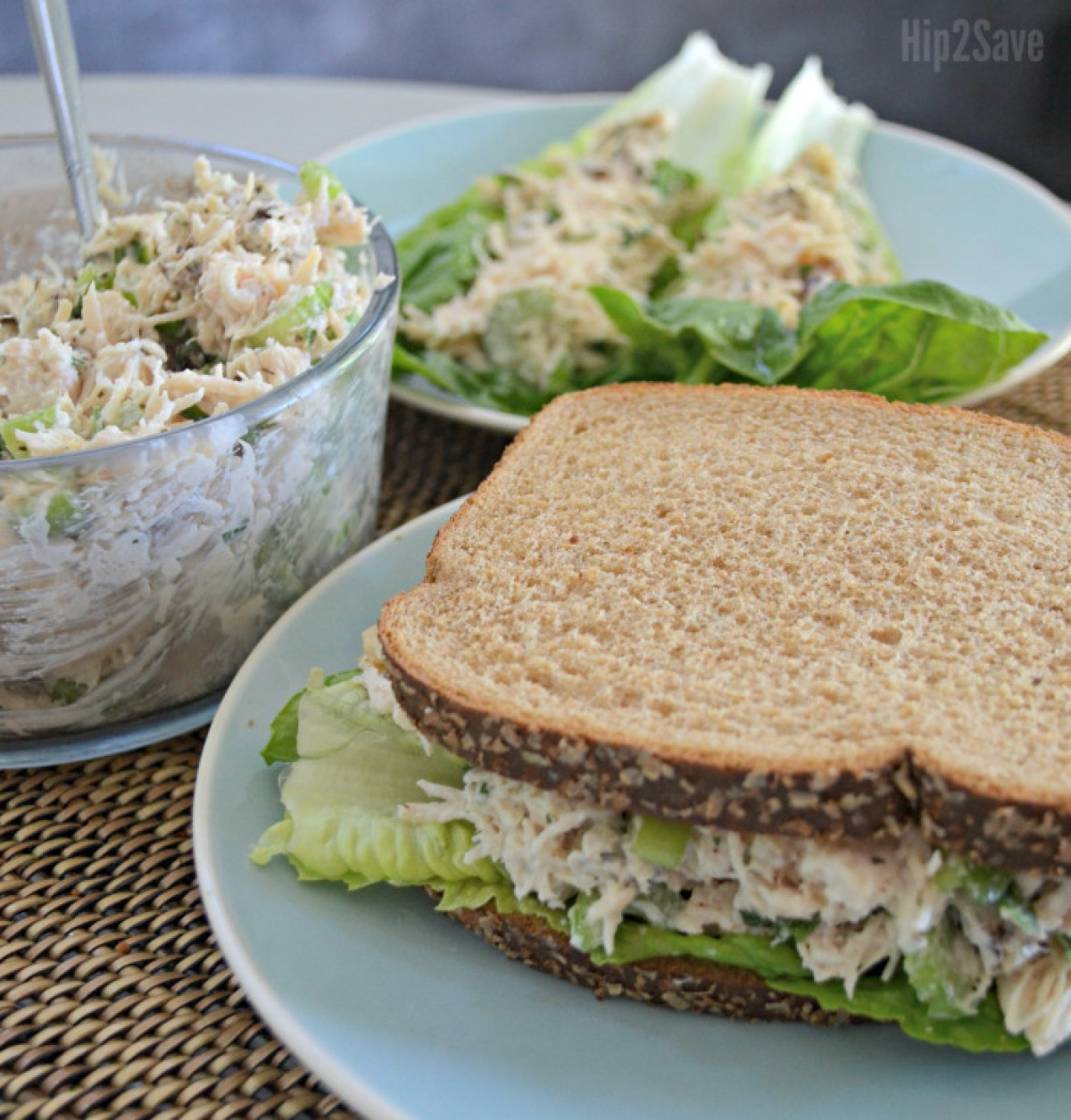 walnut chicken salad sandwich on a plate