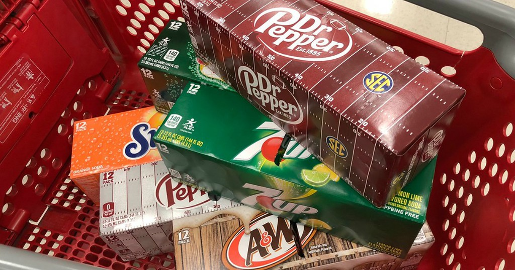 three packs of soda in red cart