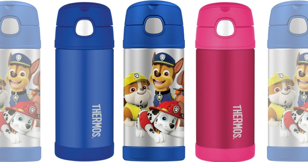 blue and pink water bottles