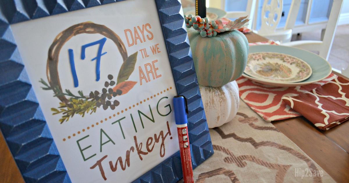 Thanksgiving countdown framed art