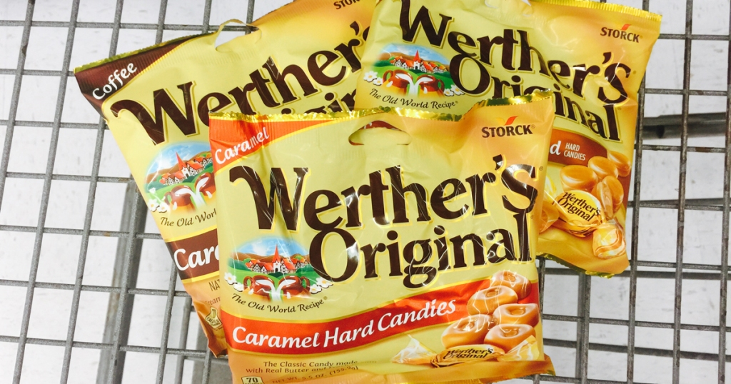 three bags of caramel candy in basket