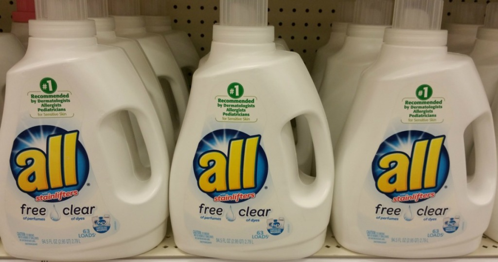 All free and clear laundry detergent on store shelf