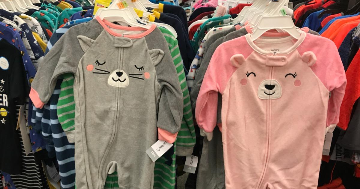 baby pajamas hanging in-store