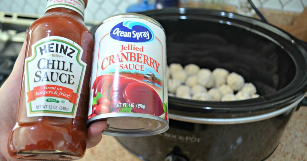 holding ingredients to make cranberry meatballs