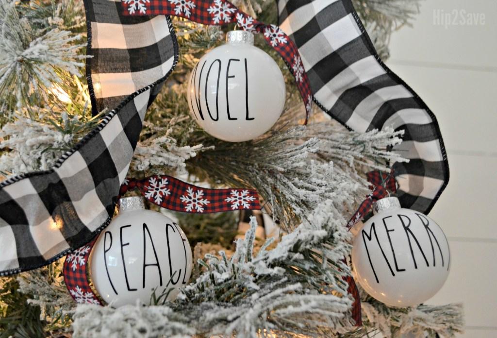 DIY Farmhouse Rae Dunn Christmas Ornaments