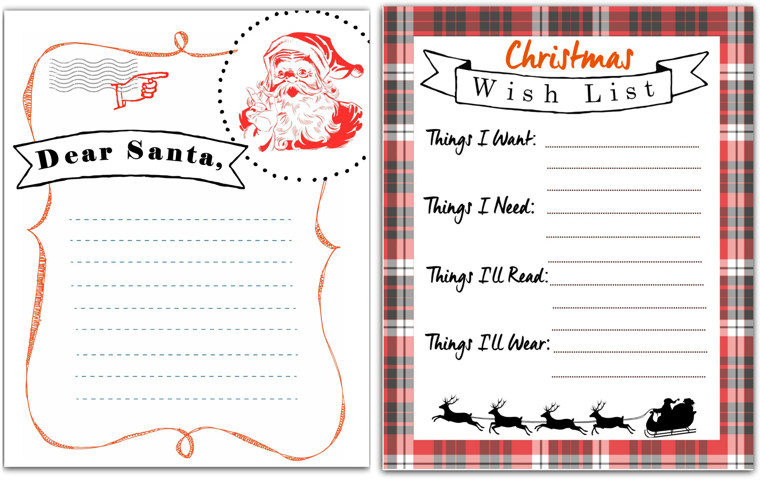 Christmas List Printable.Free Printable Letter To Santa Christmas Wish List Hip2save