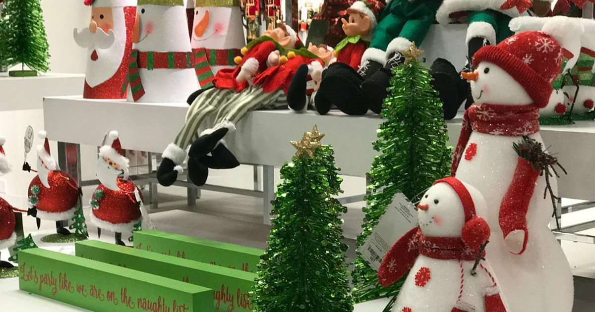 jc penney holiday display of elves, snowmen, and santas