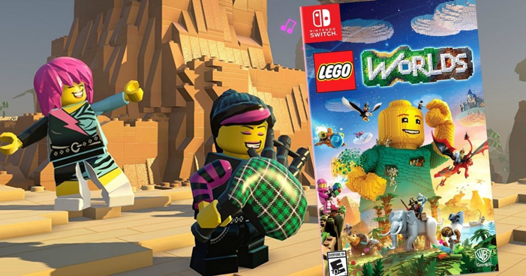 lego worlds game screen shot with nintendo switch video game in corner