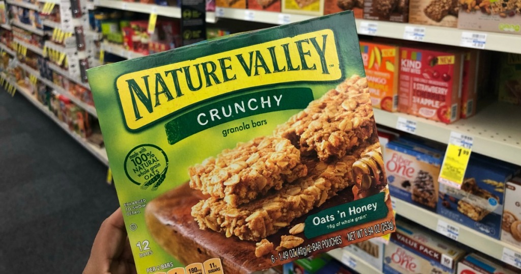 hand holding box of Nature Valley bars