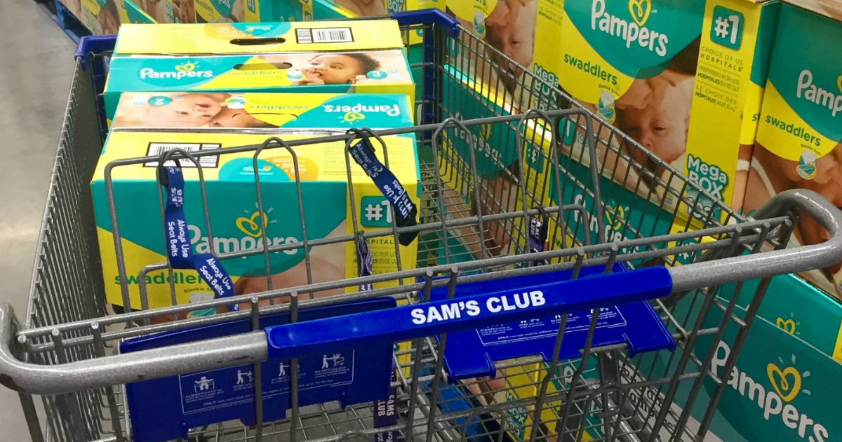 Pampers diapers in Sam's Club shopping cart