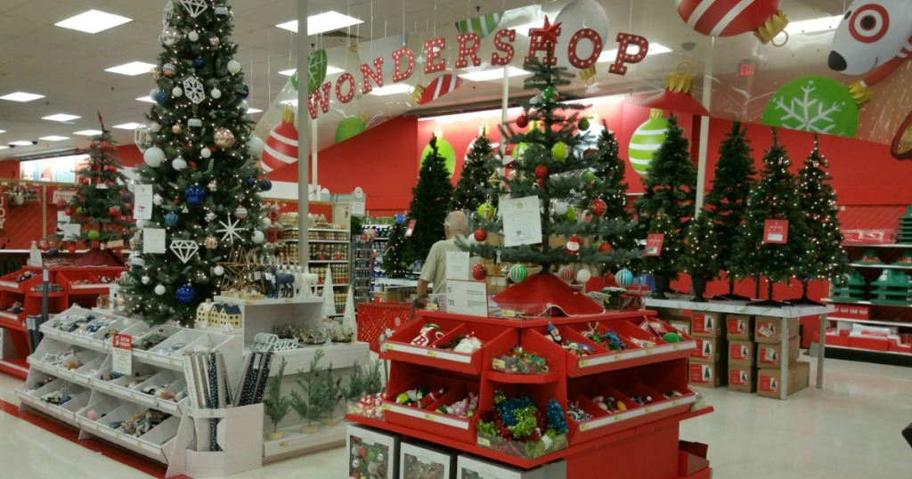 Target wondershop filled with Christmas decor