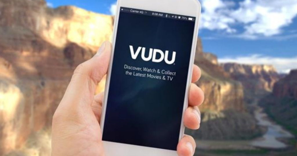 VUDU screen on iphone with mountains in background