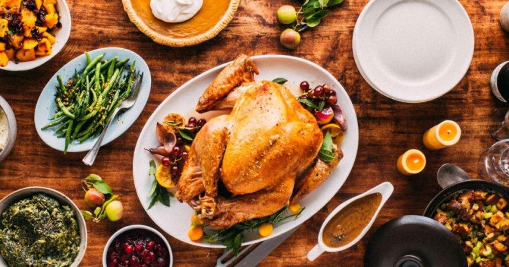 roasted turkey on table