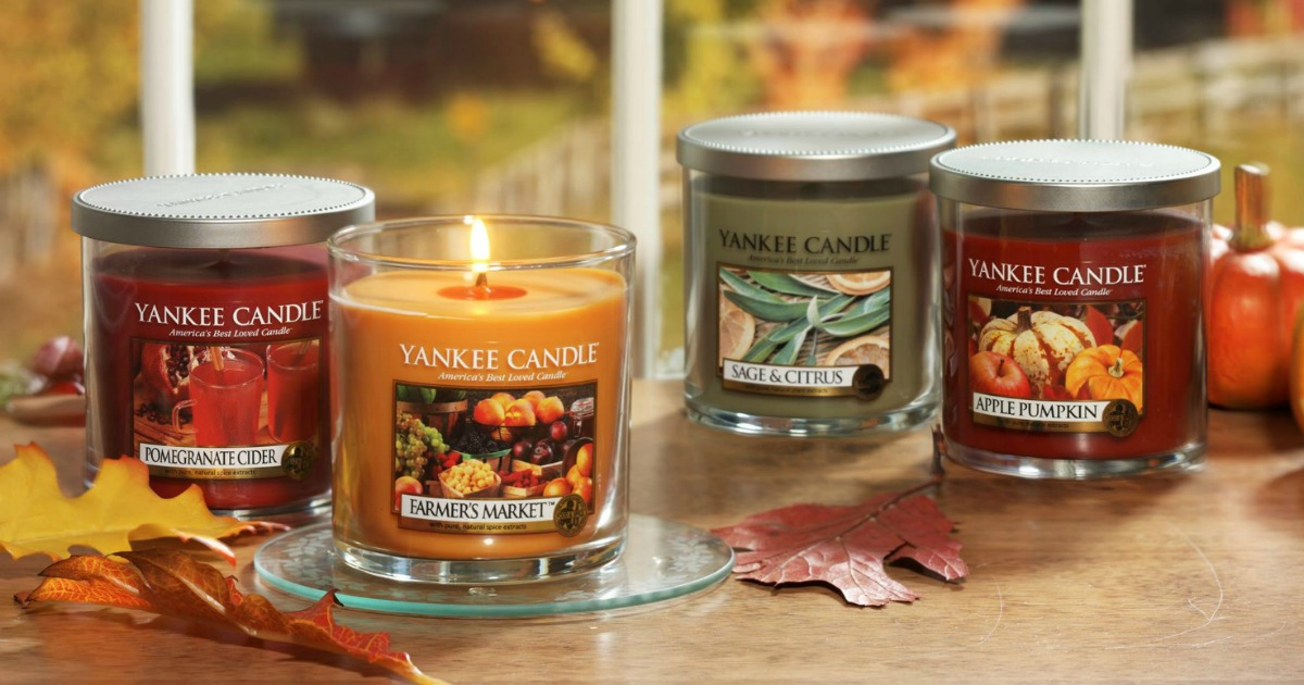 yankee candle small tumblers in fall colors scents