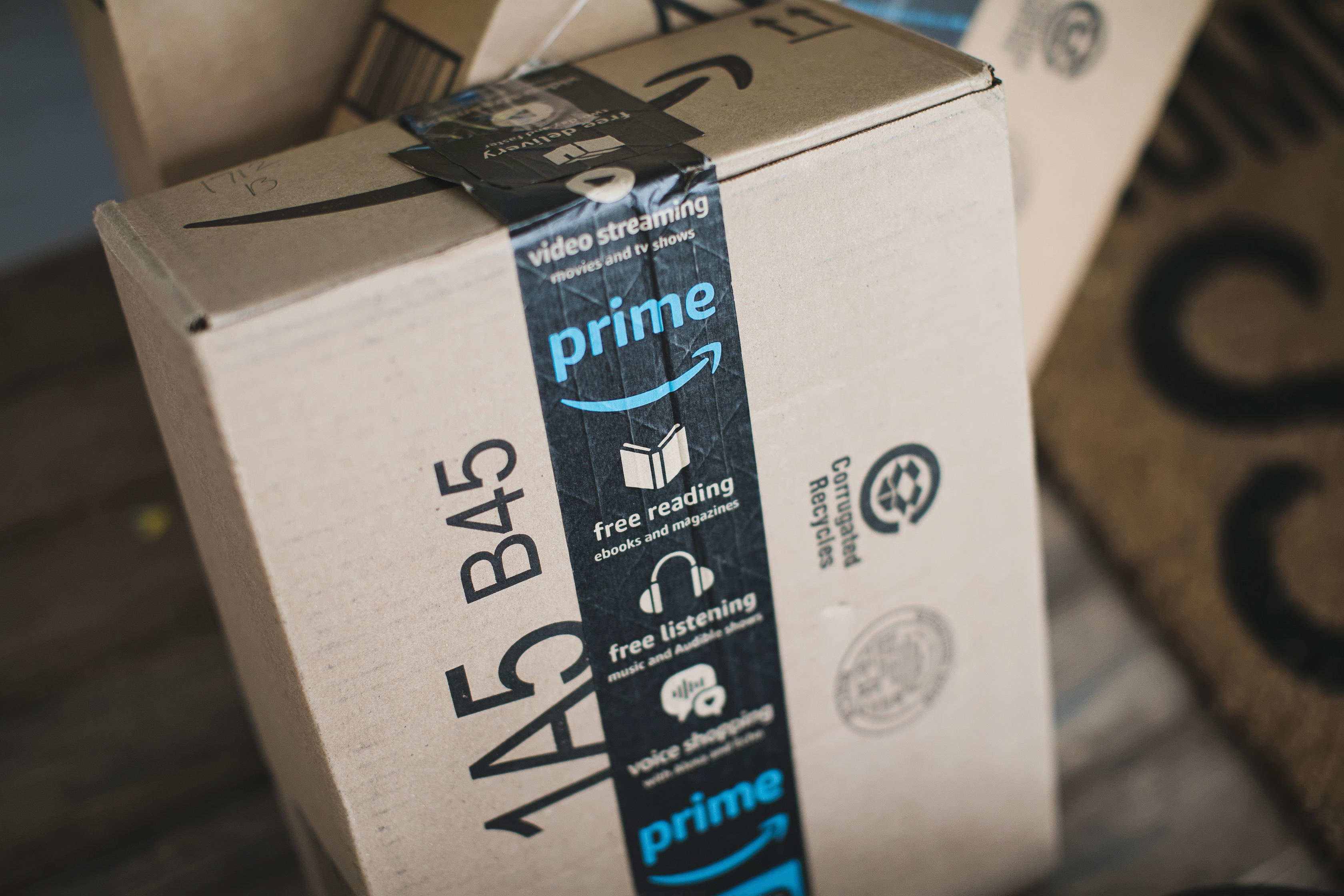box on porch with Amazon logo