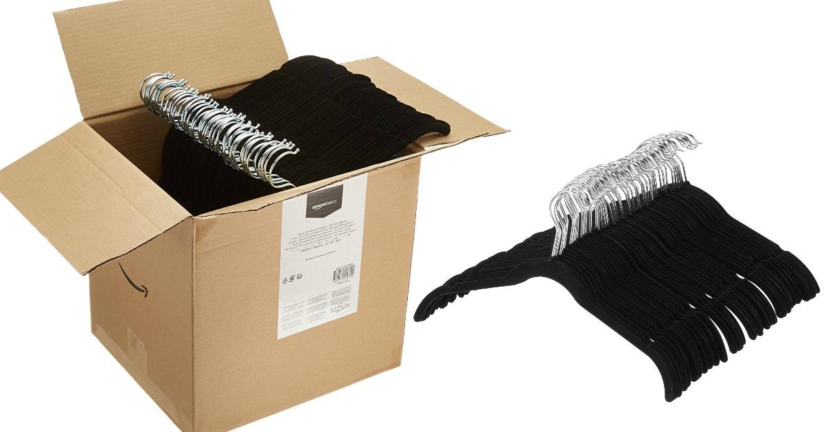 Black 50-Pack AmazonBasics Velvet Suit Hangers