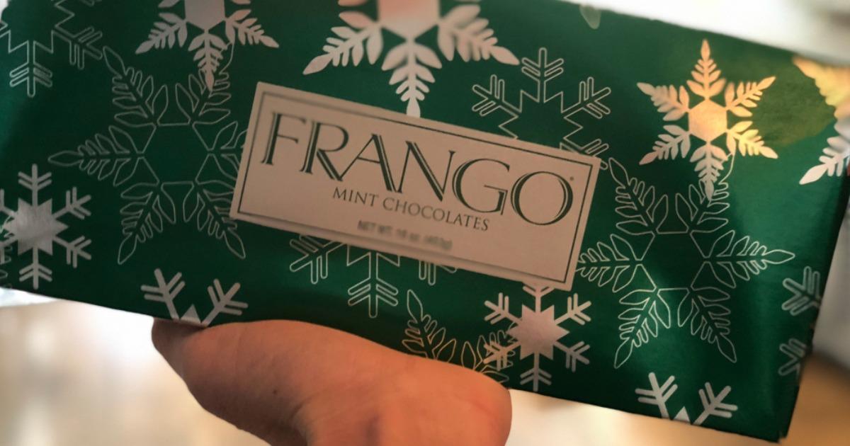 hand holding box of Frango Chocolates