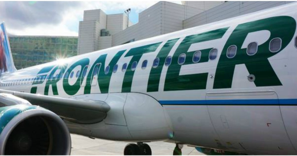 Frontier airplane parked on tarmac