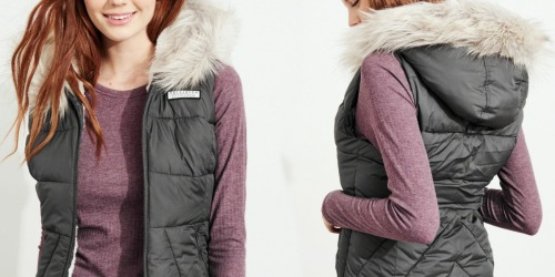 Hollister Women's Hooded Puffer Vests or Down Jackets Only $39 (Regularly $80)